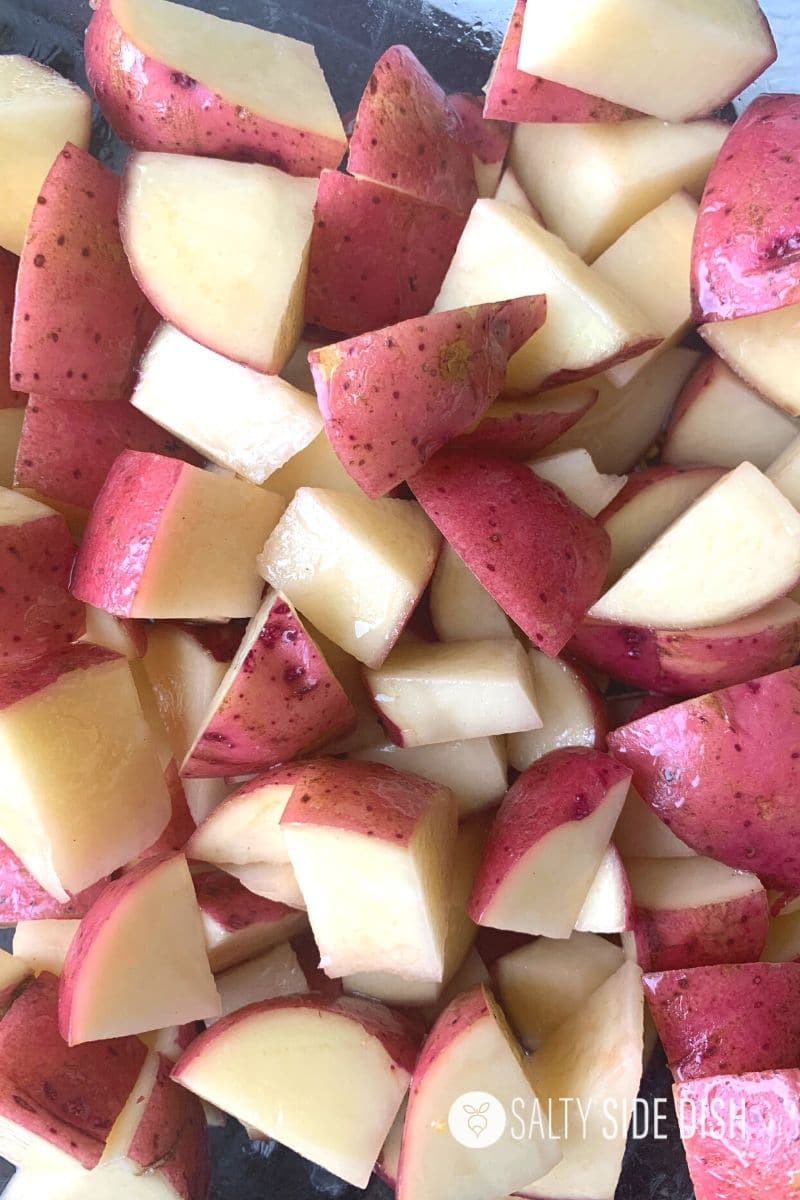 cut up red potatoes into fork sized chunks