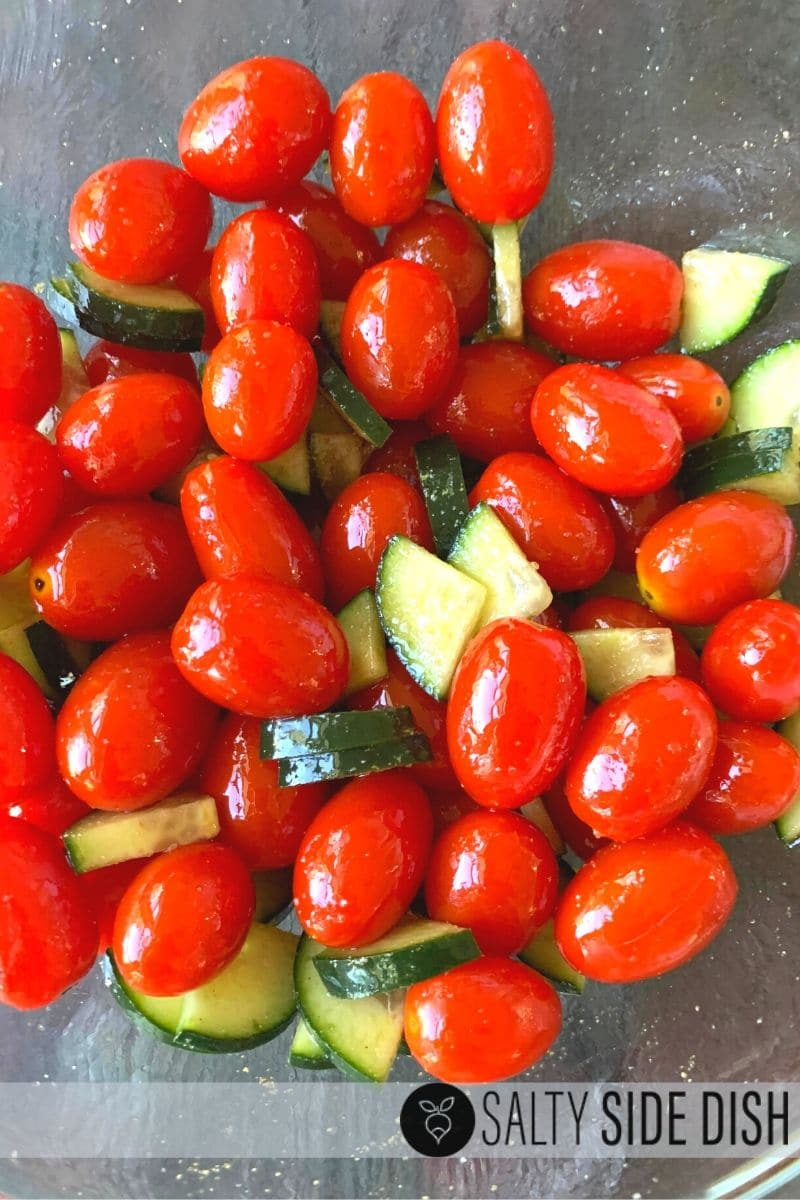 christmas salad featuring cherry tomatoes and cucumbers already made and ready to serve