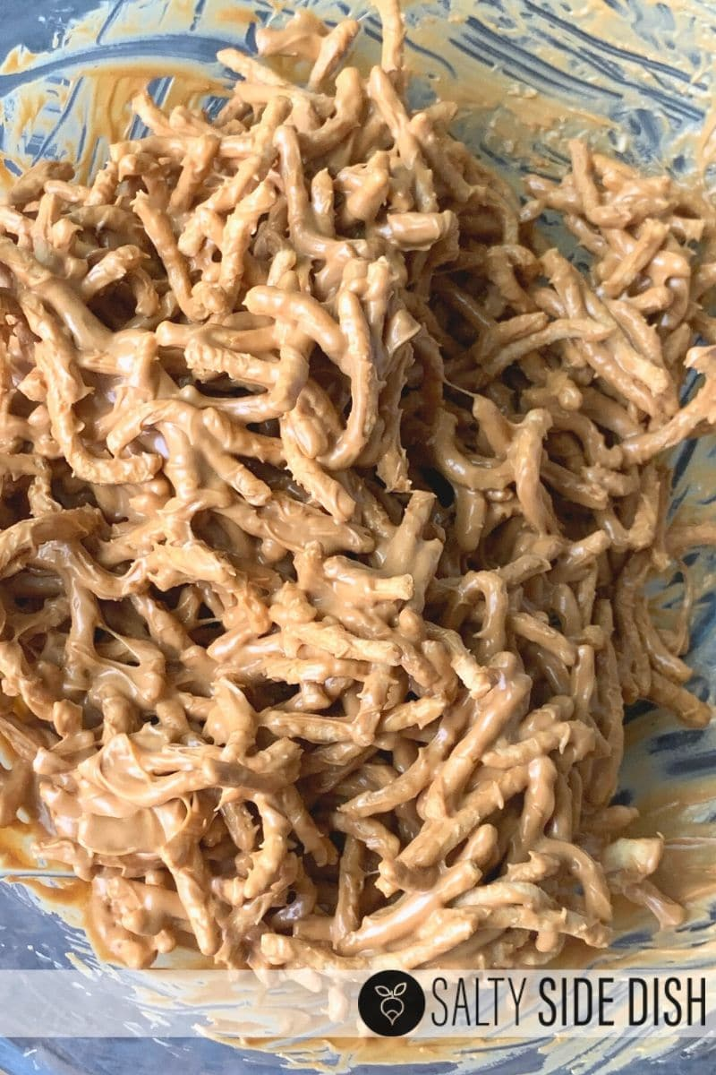 mixed up chow mein noodles with butterscotch chips melted