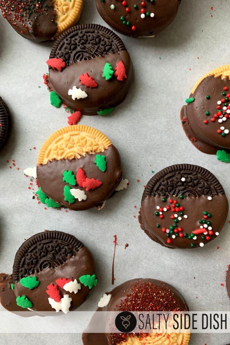 set chocolate dipped oreo's with sprinkles
