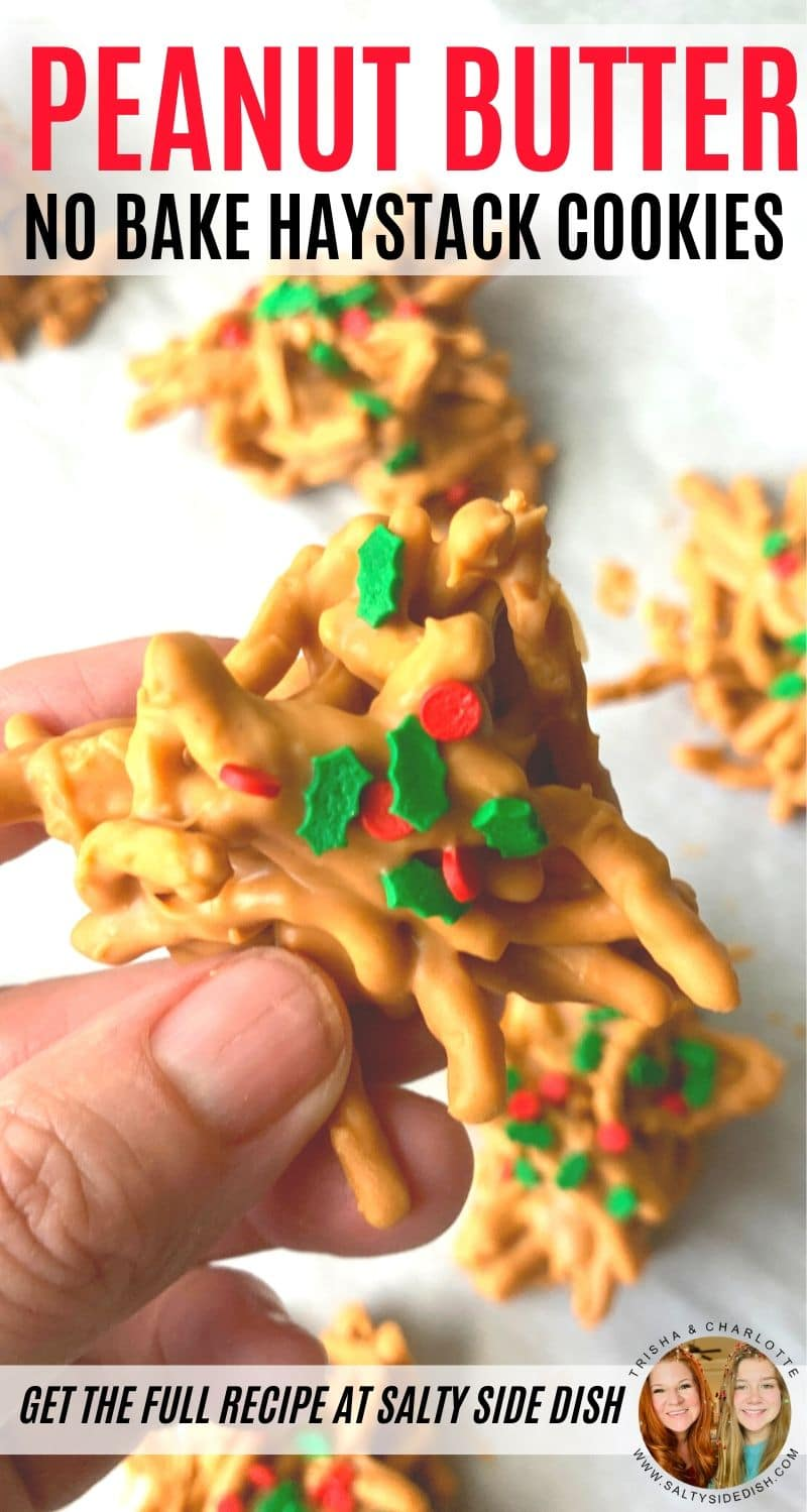 Haystack Cookies with Peanut Butter and crunchy chow mein noodles are a delicious variation of our normal no bake Haystack cookies with just butterscotch chips. These haystack cookies combine creamy peanut butter with baking chips to create a really rich and amazing cookie that can be ready to enjoy in literally minutes. #haystacks #haystackcookies #nobakecookies #holidaycookies #nobakeholidaycookies #christmascookies #holidaymenu #recipe