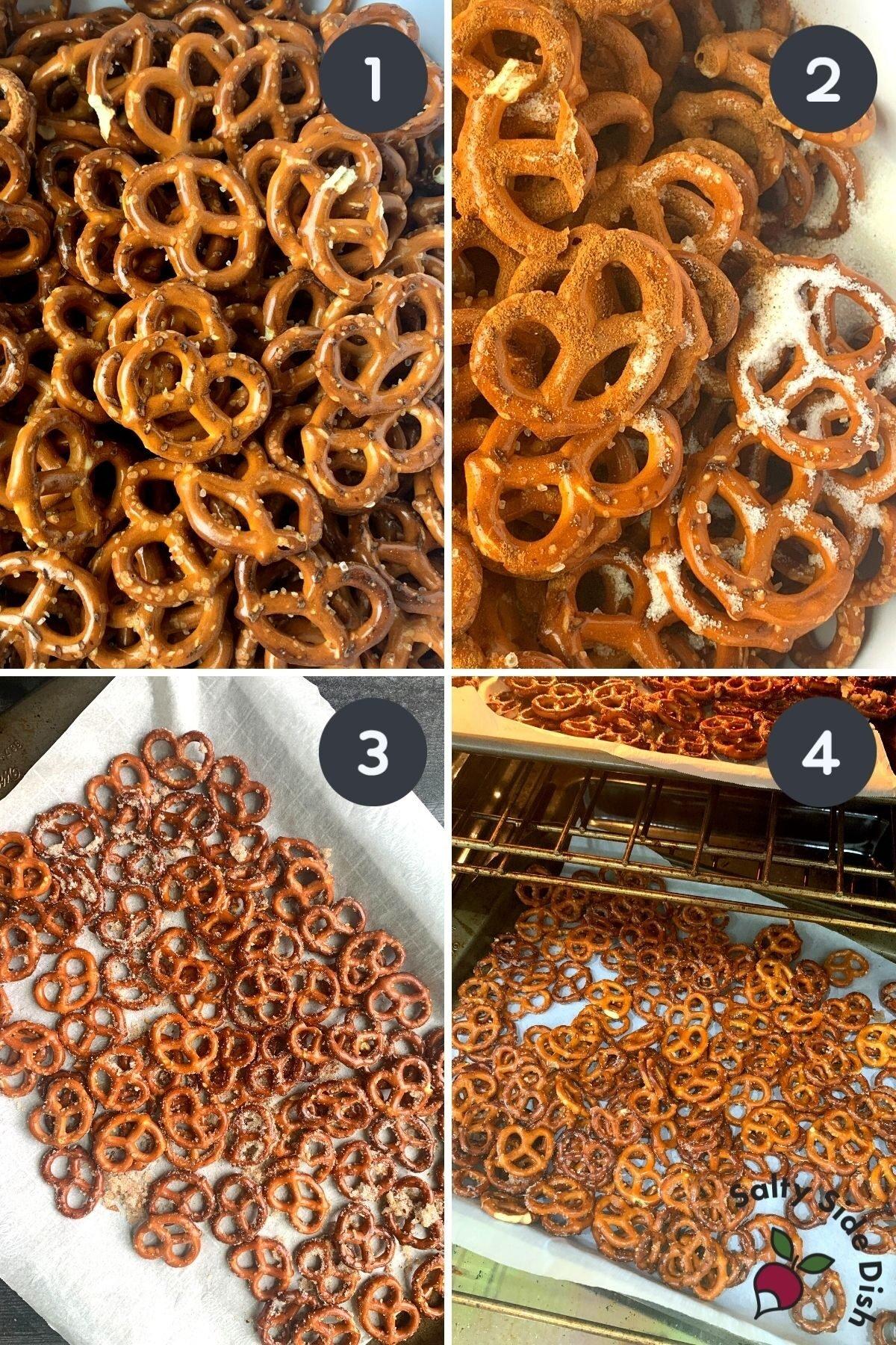 cinnamon sugar pretzels in oven.
