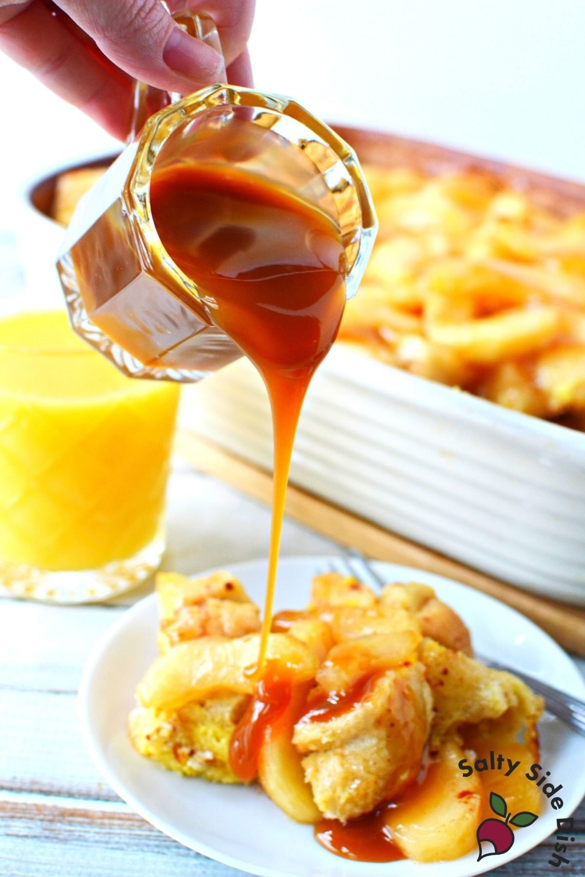 caramel drizzled over apple breakfast.
