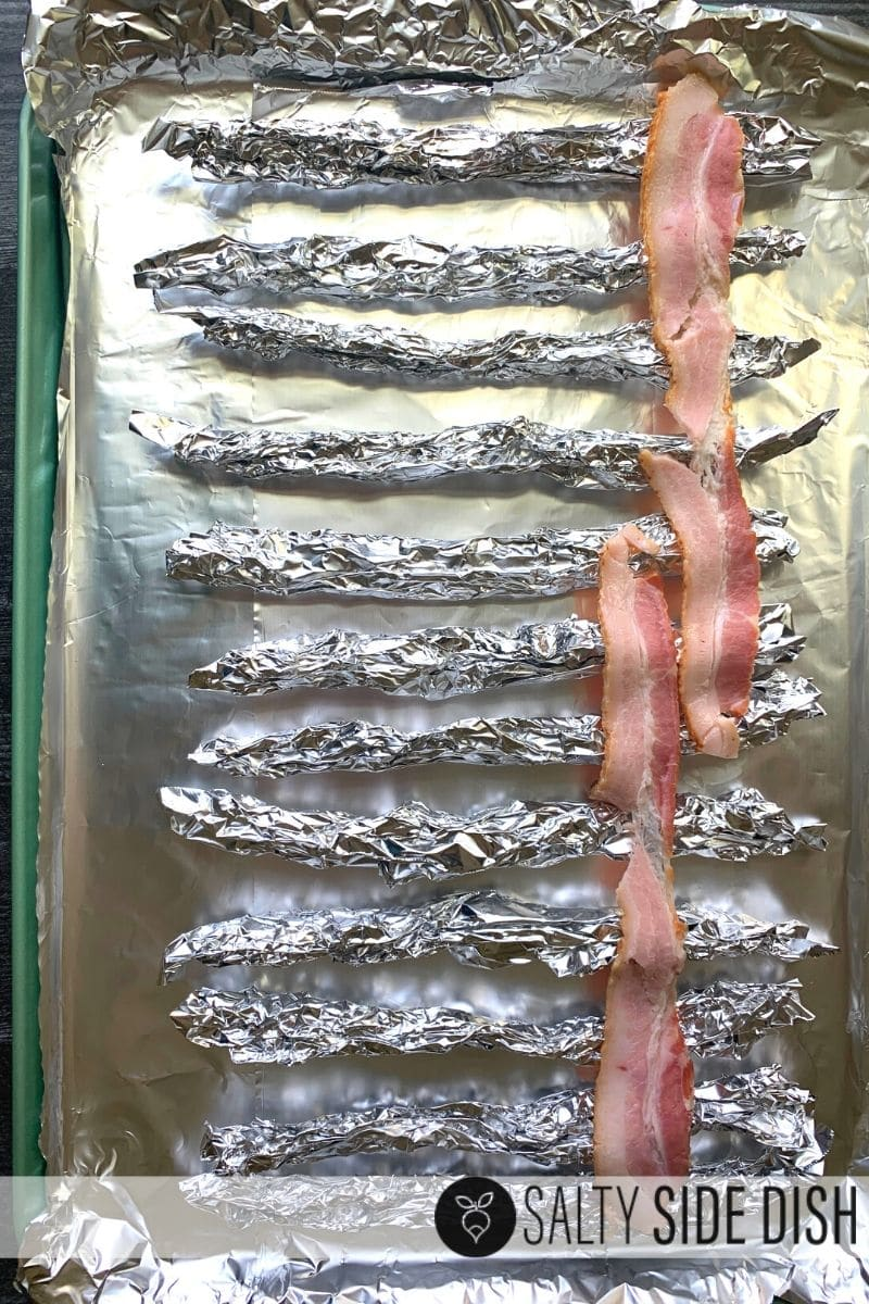 Place bacon on top of sheet pan and try not to overlap too much bacon