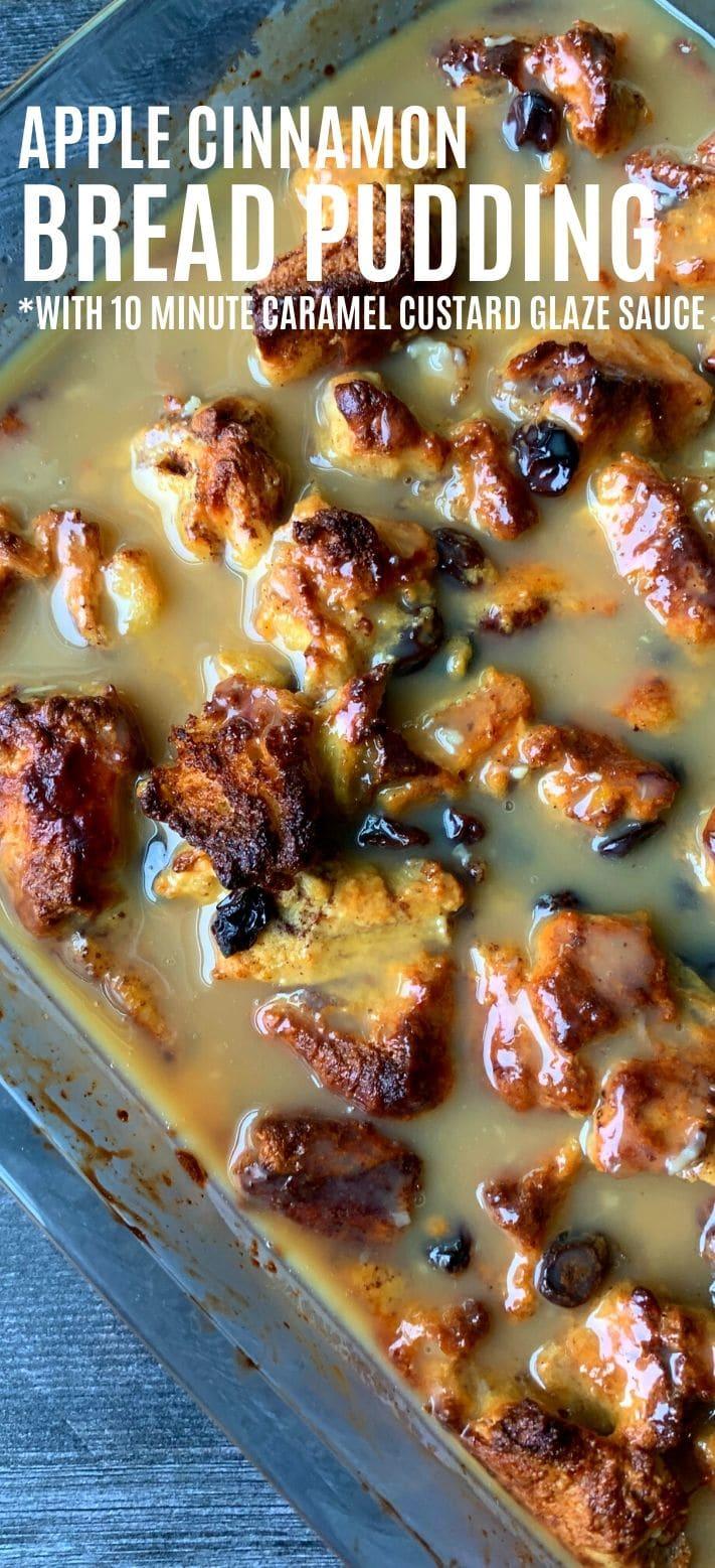 Apple Cinnamon Bread Pudding with 10 minute caramel Custard Glaze| Unique and delicious bread pudding recipe with a WOW factor #breadpudding #custard #sidedish #applecinnamon #easyrecipe #simple #sidedishes #saltysidedish