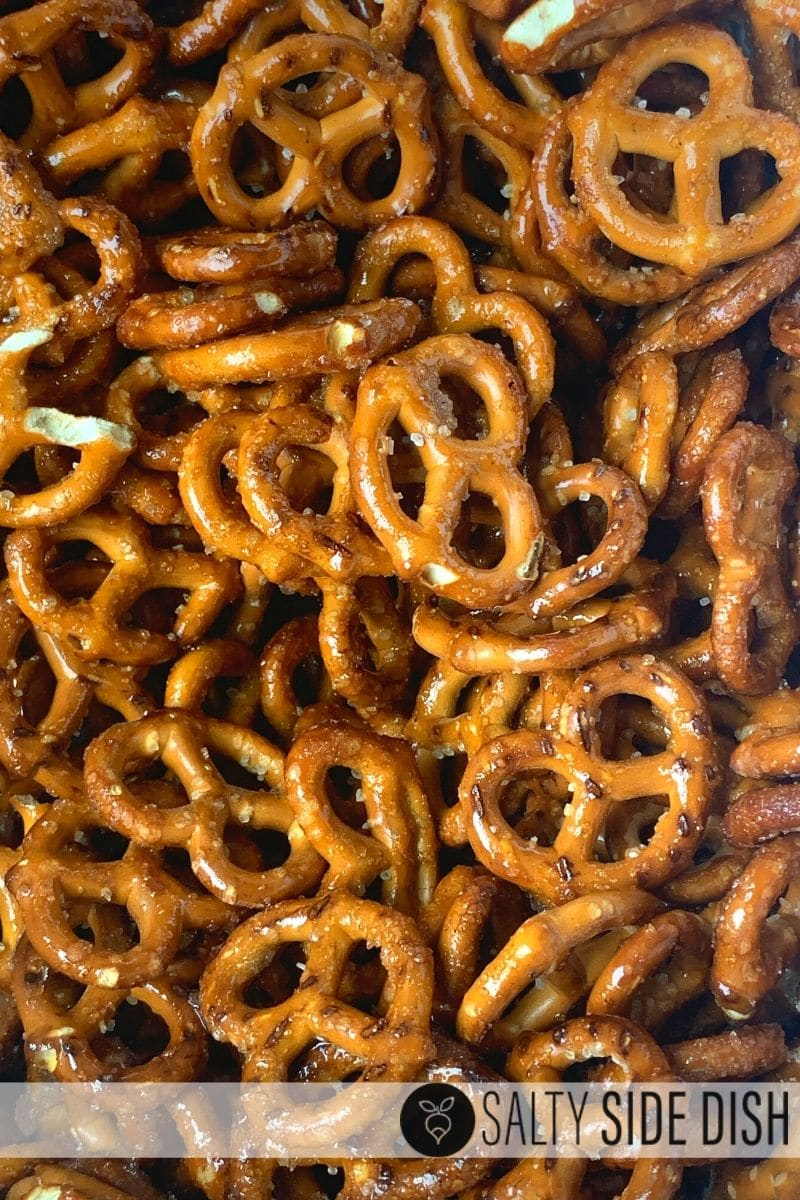 pretzels layering on a sheet pan