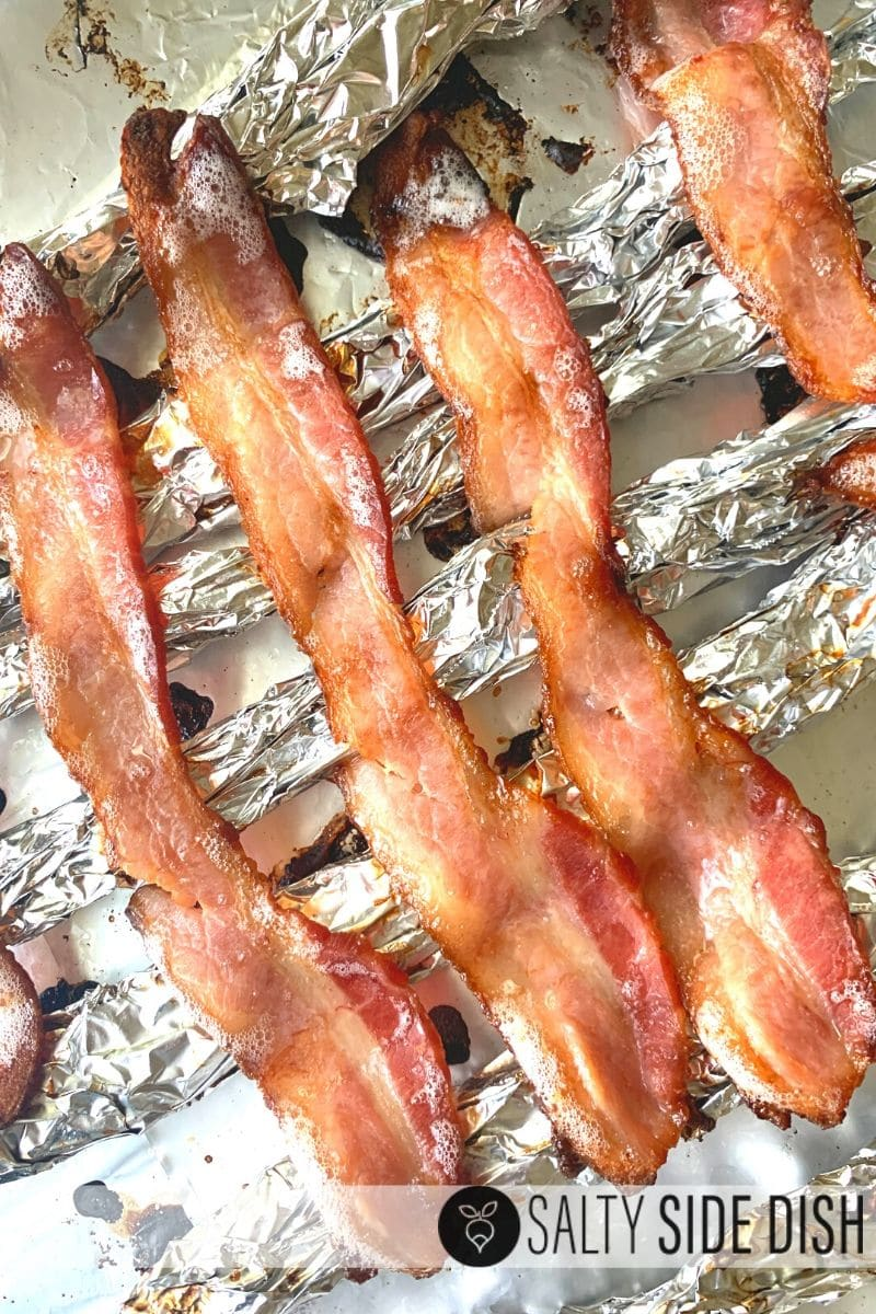 Crispy bacon oven baked on foil wire rack homemade