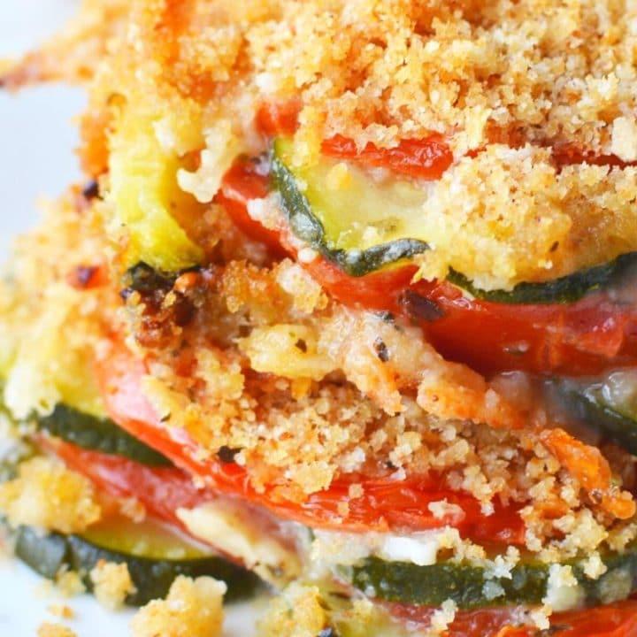 Zucchini Tomato Casserole with Crumb Topping