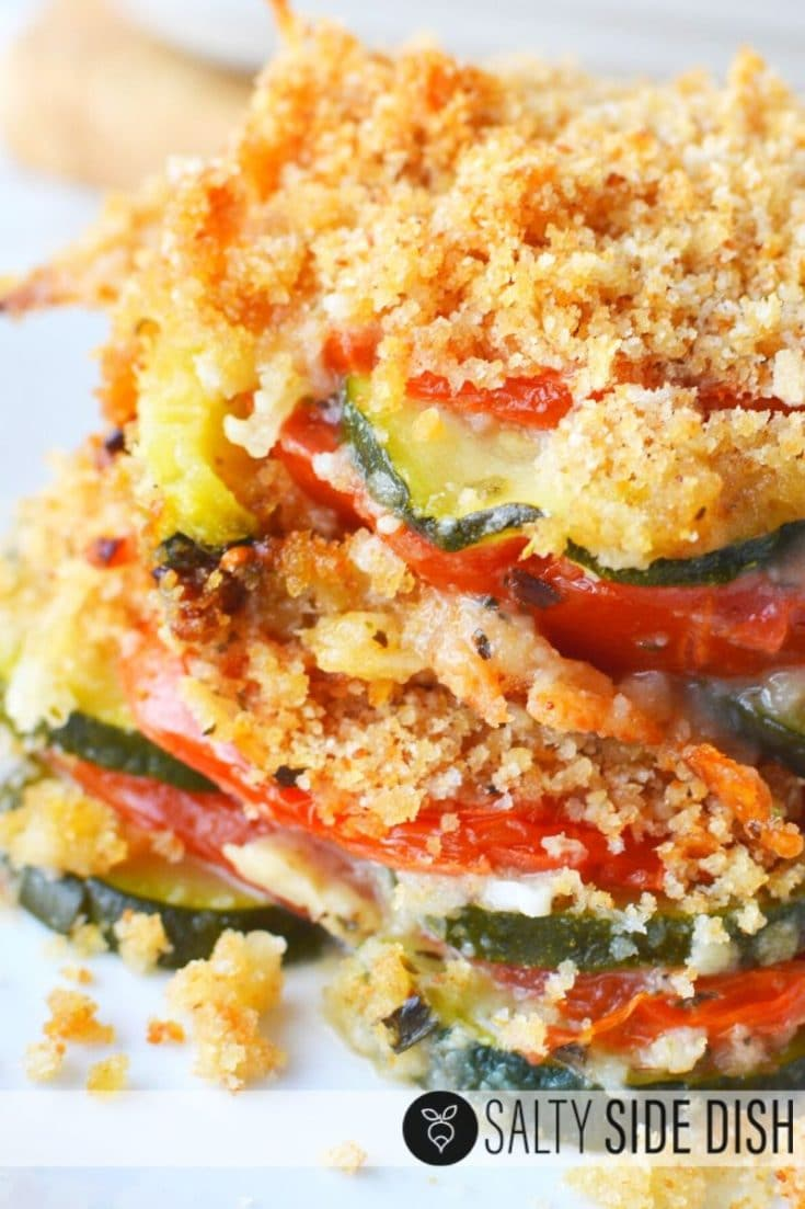 Zucchini Tomato Casserole with Crumb Topping