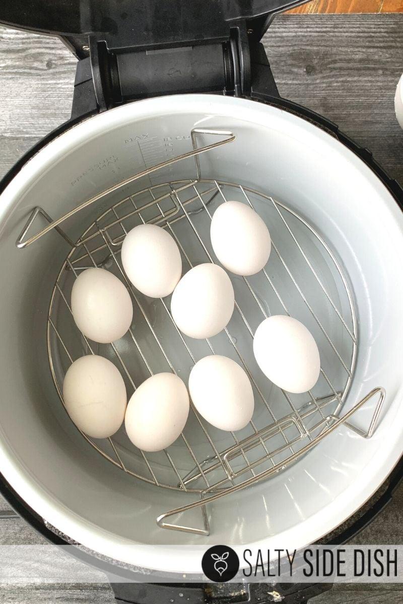Hard boiled eggs on rack in pressure cooker