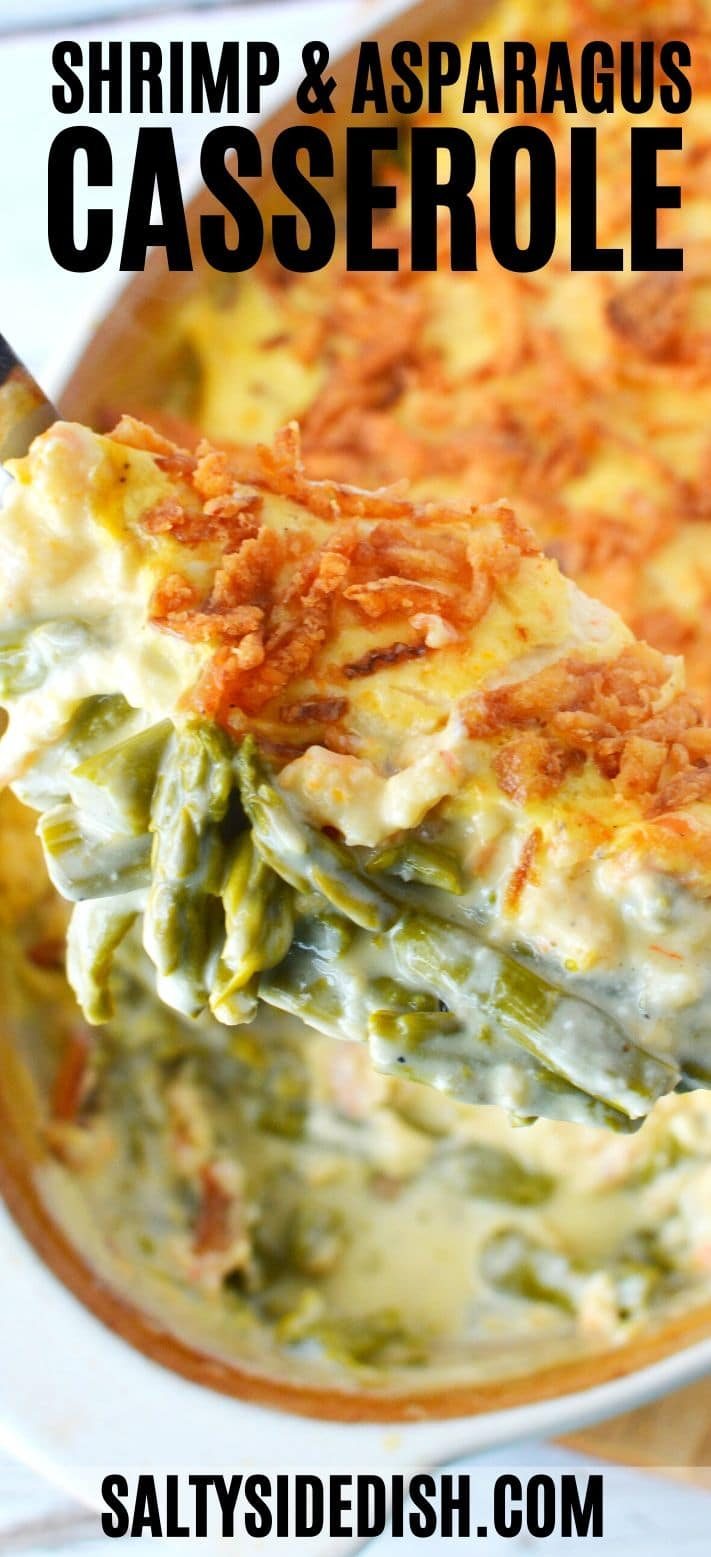 Baked Cheesy Asparagus Casserole with Shrimp and cheddar cheese - a seafood casserole side dish that is so easy, savory, and creamy! #shrimp #asparagus #casserole #sidedish #side