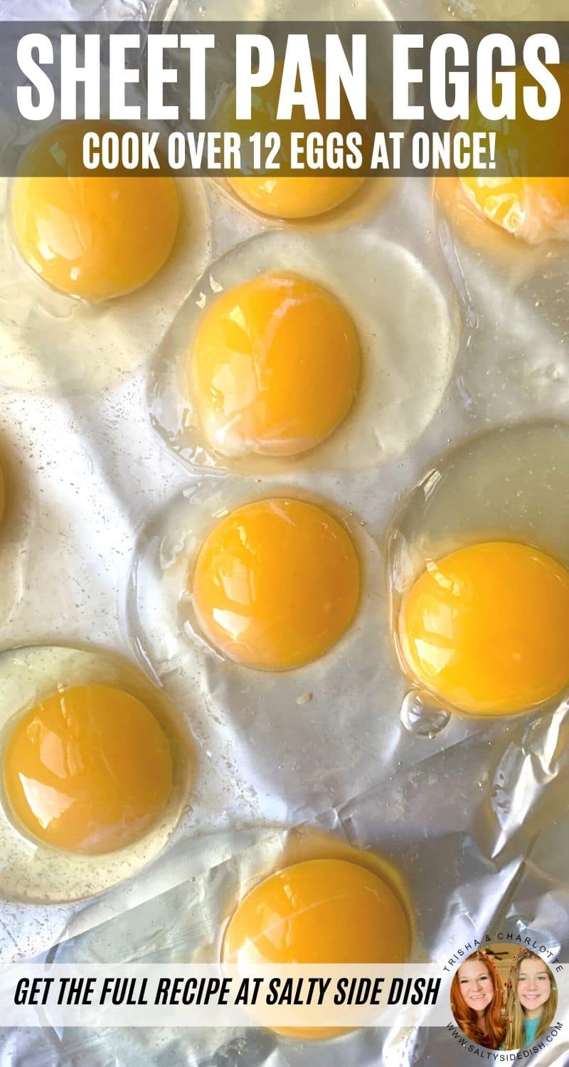 Sheet Pan Eggs - Oven bake over a dozen eggs in minutes, perfect eggs for a crowd without the skillet splatter, plus these eggs are great for egg sandwiches and meal prep #sheetpanrecipes #sheetpan #oven #friedeggs #eggs #breakfast #mealprep #keto #lowcarb #saltysidedish