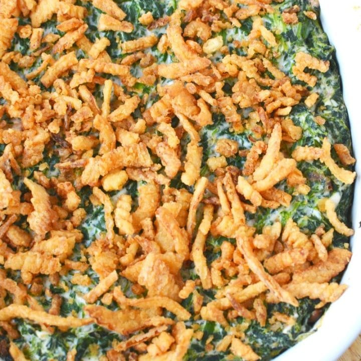 Creamed Spinach Casserole with Fried Onions