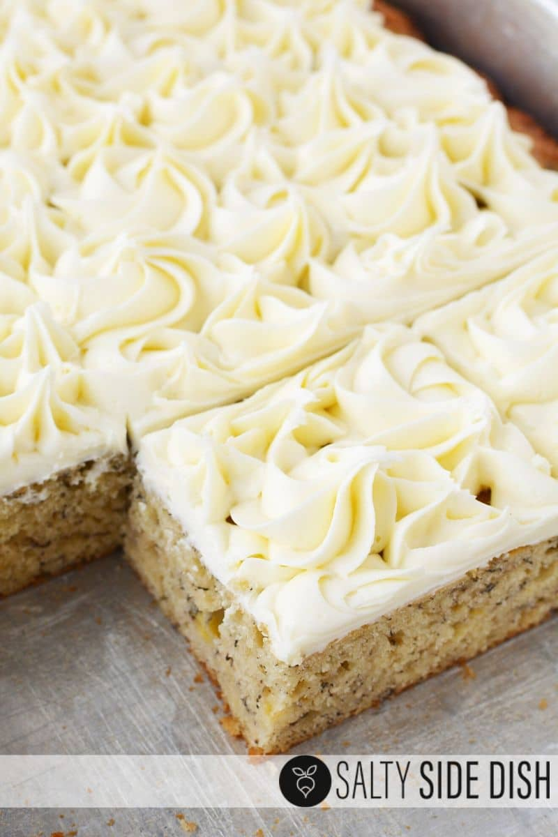 Banana bars recipe covered in simple cream cheese frosting with fresh banaanas