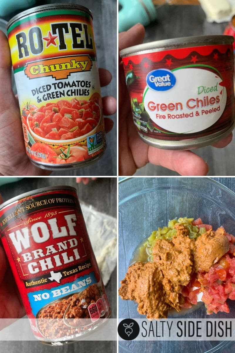 ingredients for a hot chili cheese dip with Rotel tomatoes, green chiles, wolf brand chili with no beans all mixed together