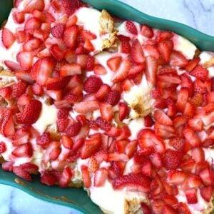 strawberry and cream cheese breakfast casserole in a dish