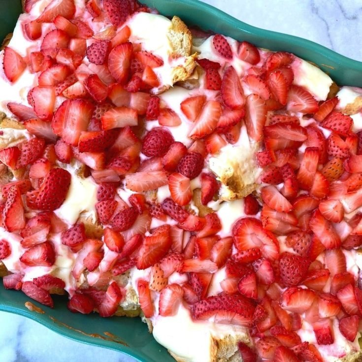 strawberry and cream cheese breakfast casserole in a dish