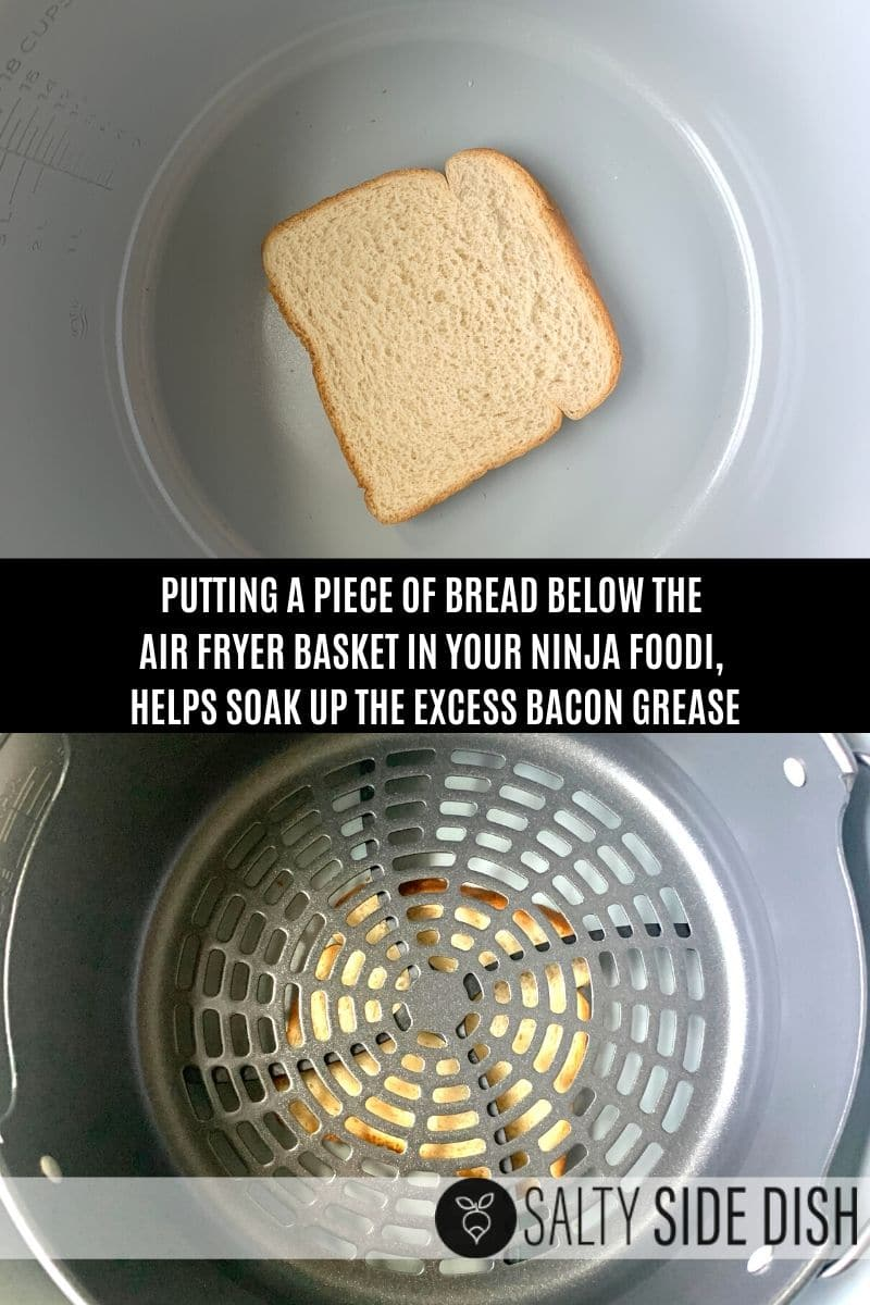 add piece of bread below air fryer basket to soak up grease