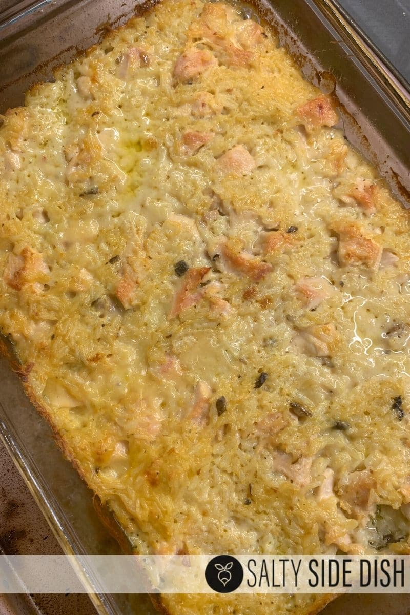 chicken and rice bake in a casserole dish