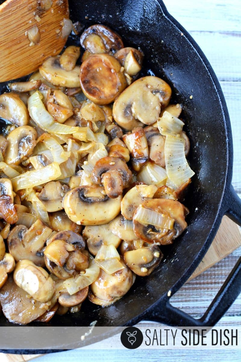 simple 10 minute side dish in a cast iron pan and on your oven with sauteed onions and mushrooms