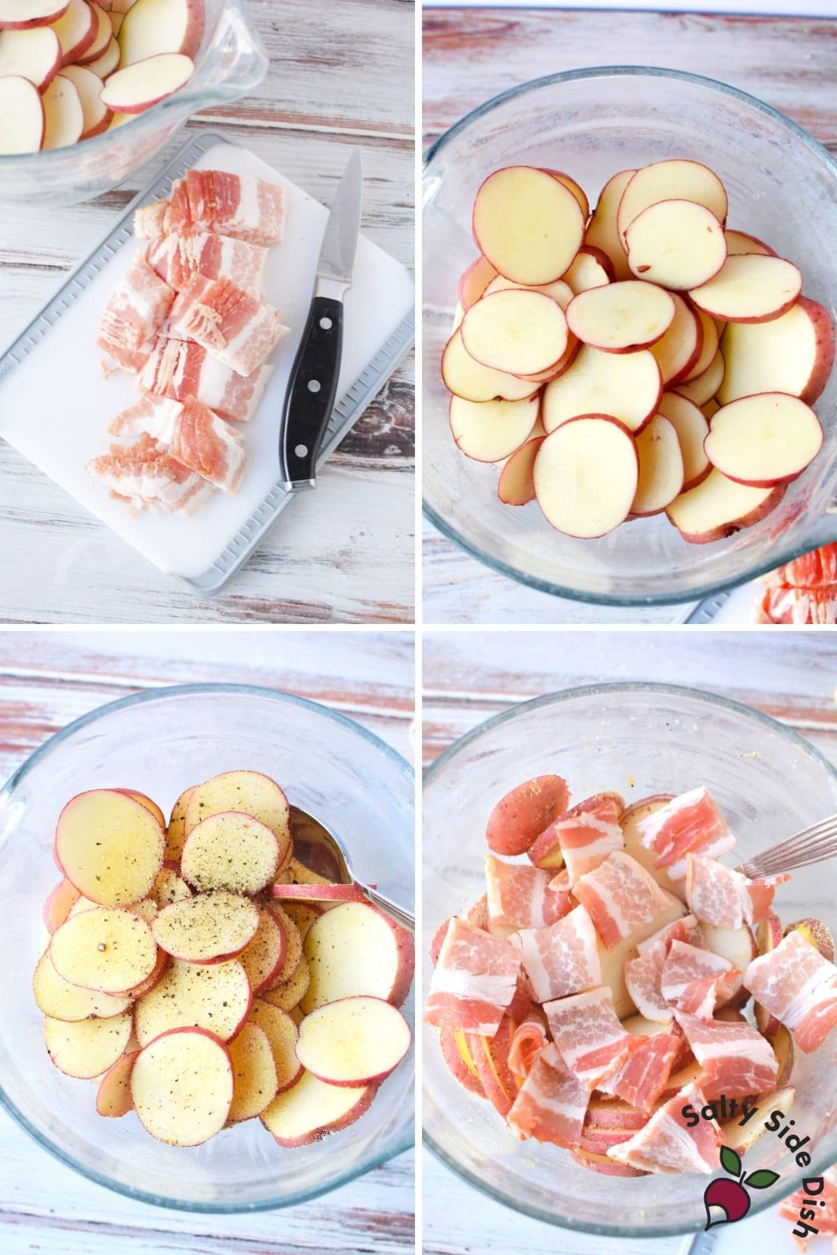 bacon and sliced red potatoes in a bowl