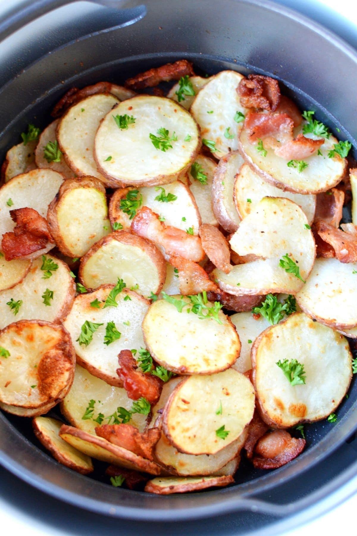 ninja foodi air crisp roasted potatoes in basket