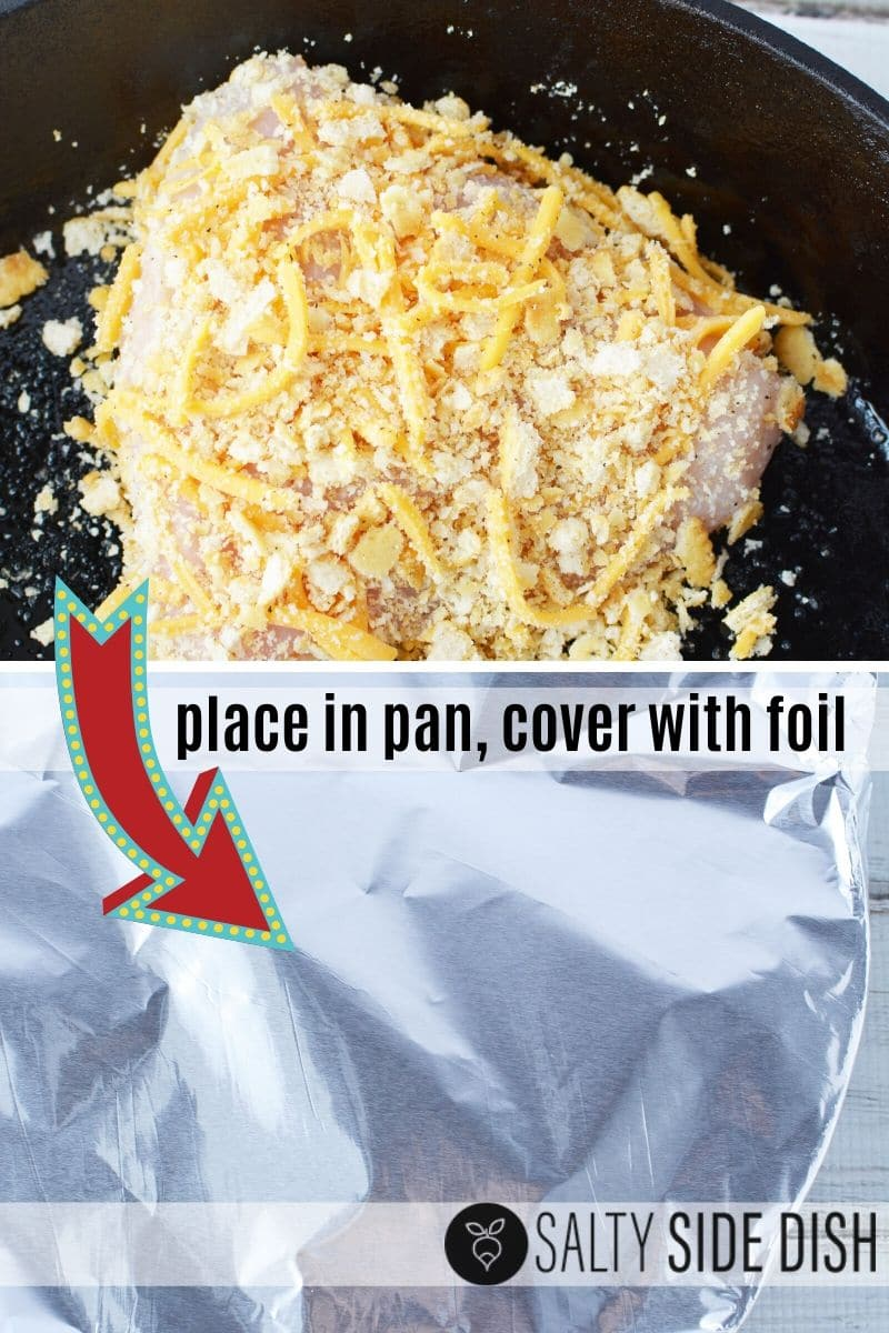 cover chicken with foil and place in the oven (cast iron pan shown)