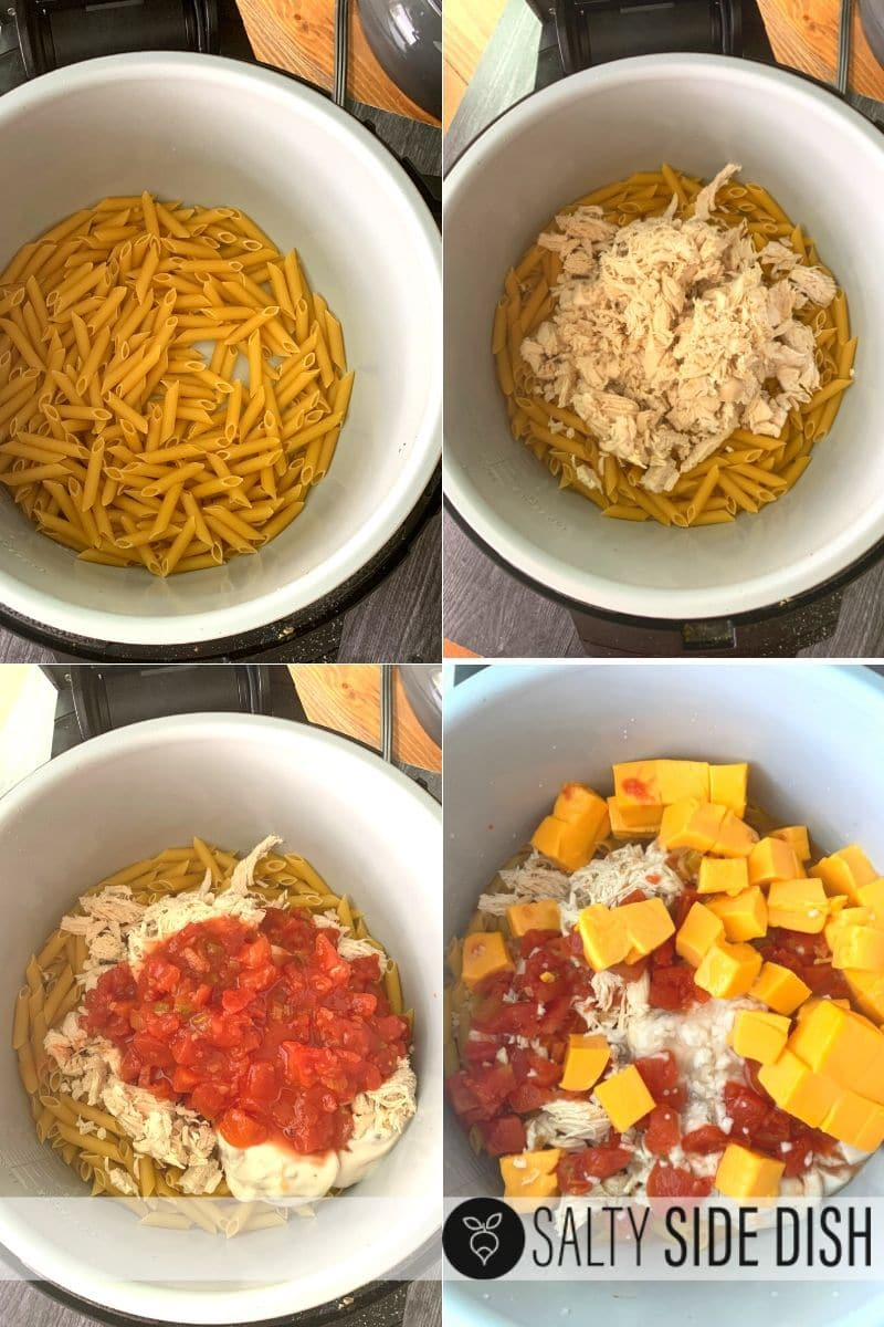 layer pasta, chicken, rotel, velveeta and all ingredients in your pressure cooker