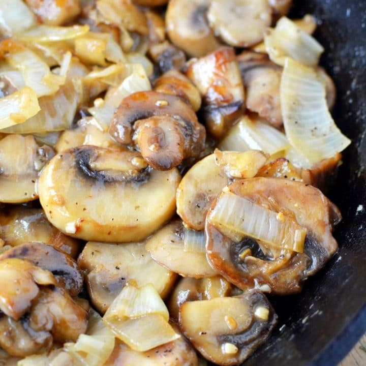 10 Minute Sauteed Mushrooms and Onions Recipe with Minced Garlic