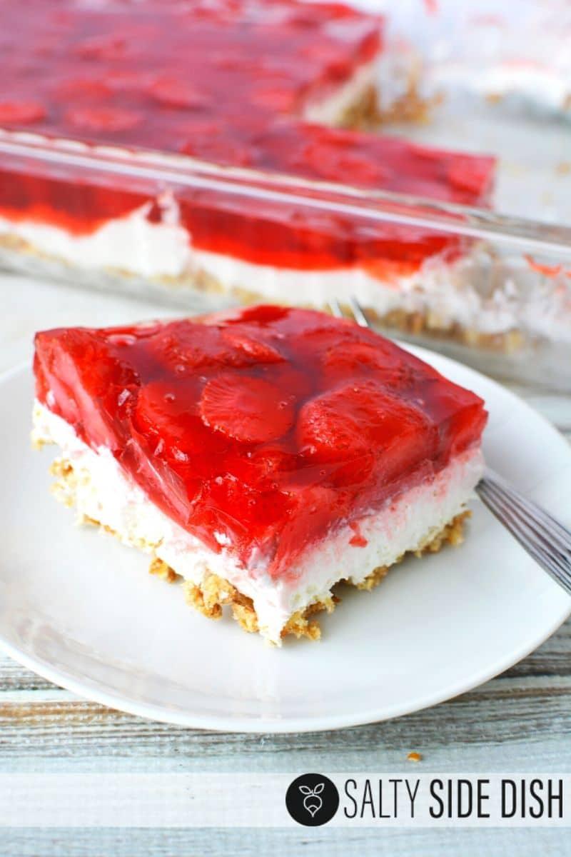 Strawberry Pretzel Jello Salad Recipe with 3 layers of delicious dessert salad