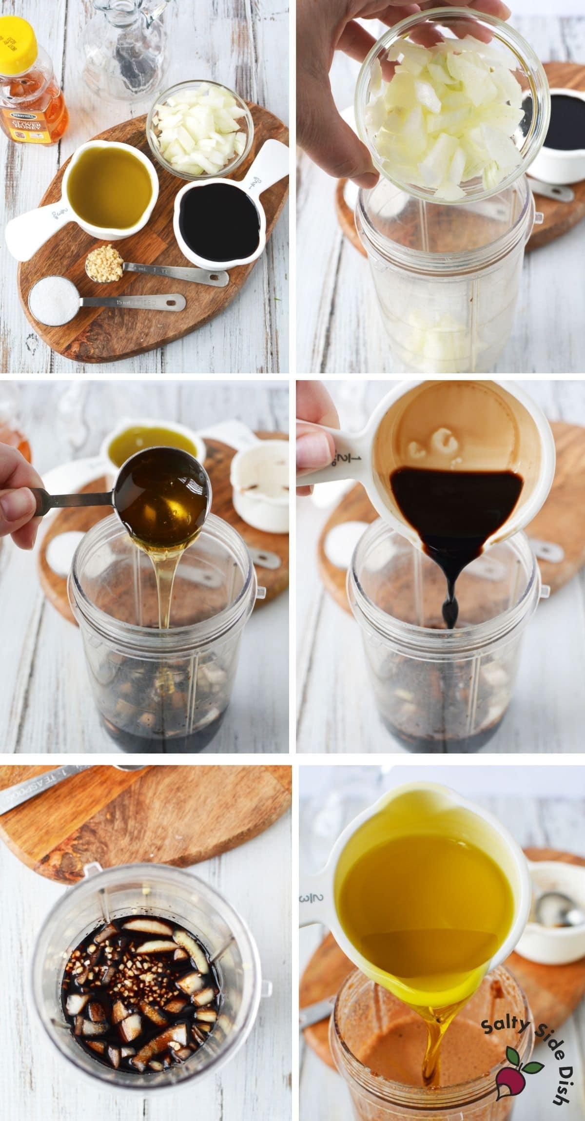 Honey balsamic vinaigrette being made in a blender