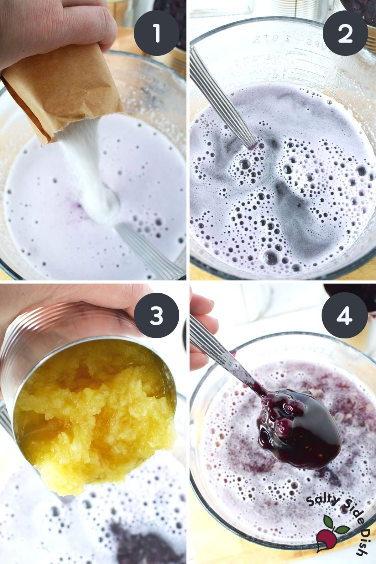 step by step on how to make blueberry salad recipe.