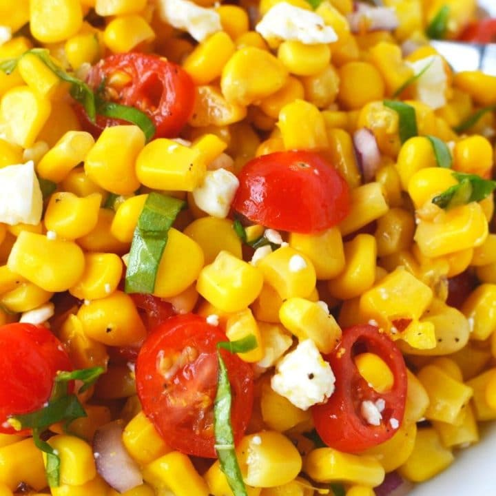 Fresh Corn and Tomato Salad with Feta