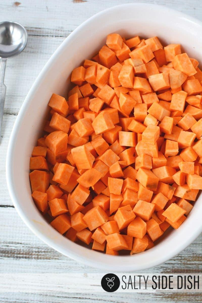 cut down sweet potatoes into chunks and place in a casserole dish that is oven friendly