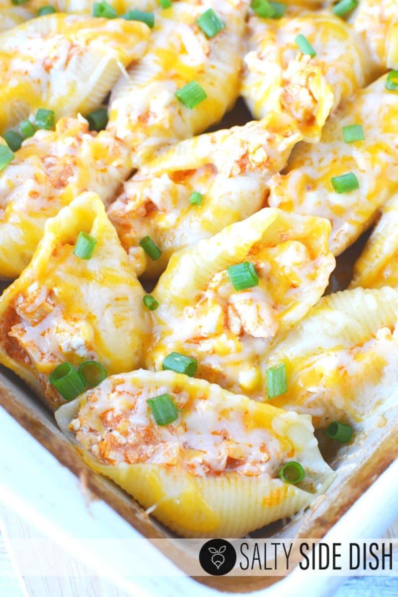 Buffalo Chicken Stuffed Shells Recipe ready to be served