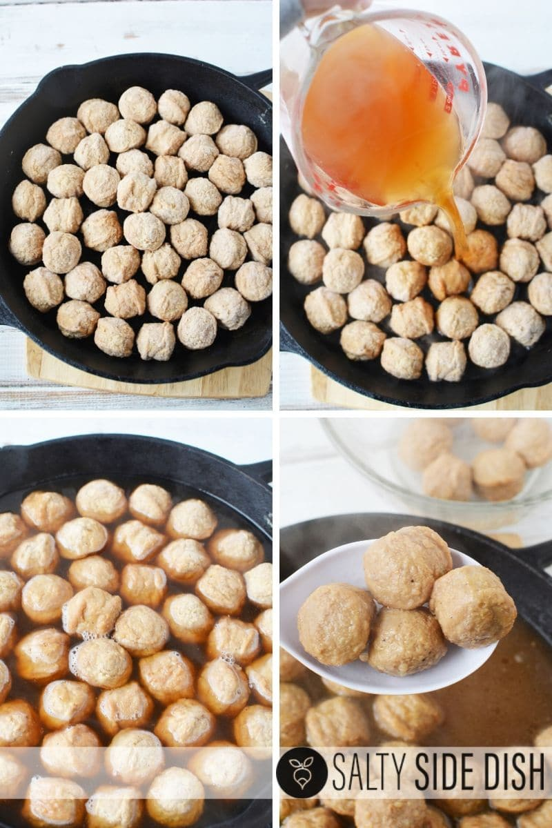 Steaming frozen meatballs with beef broth in cast iron pan
