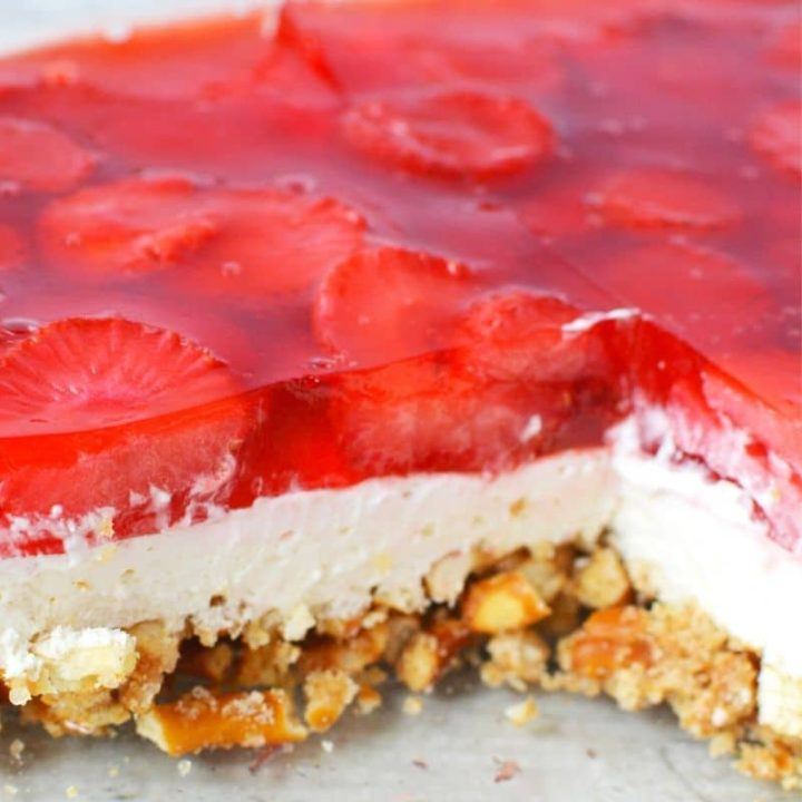 Strawberry Pretzel Jello Salad Recipe with 3 Sweet & Salty Layers!