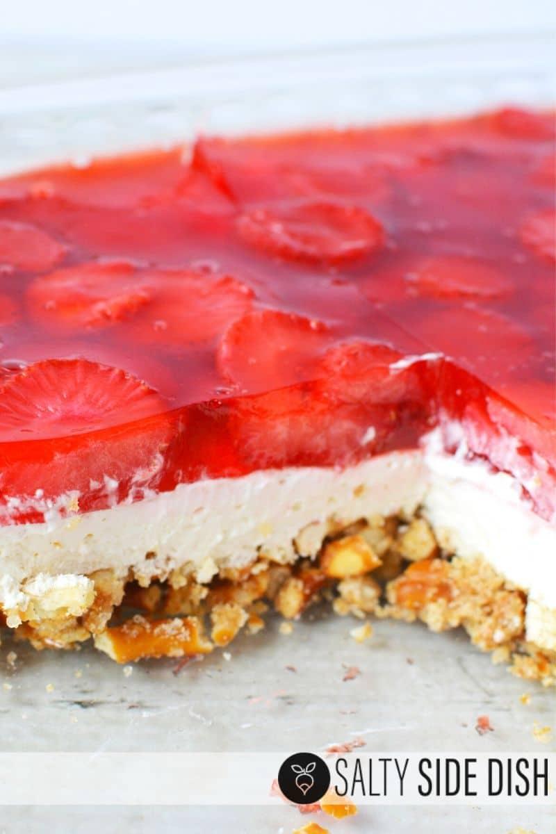 Easy Strawberry Jello Salad with Pretzel Crust