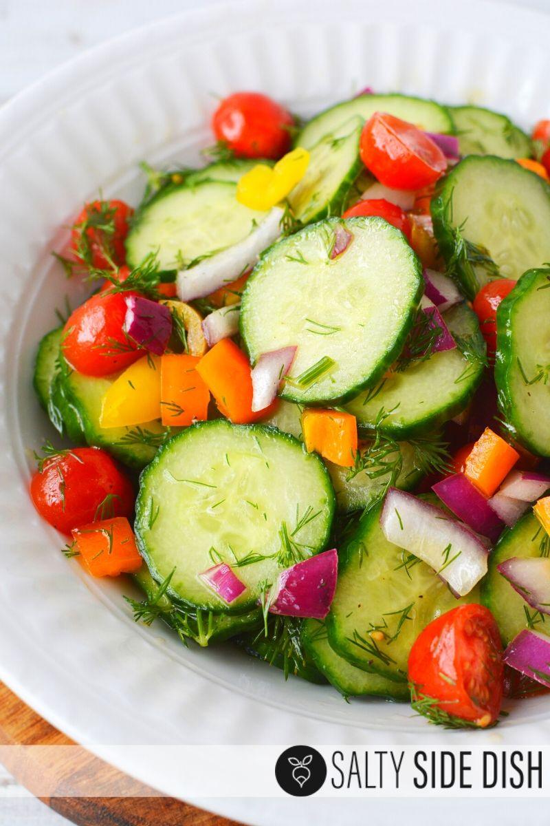 Marinated Cucumber Salad recipe with Apple Cider Vinegar with fresh dill and oil vinaigrette