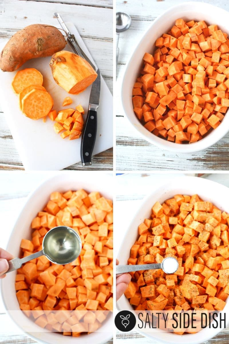 prep and peel sweet potatoes in a dish