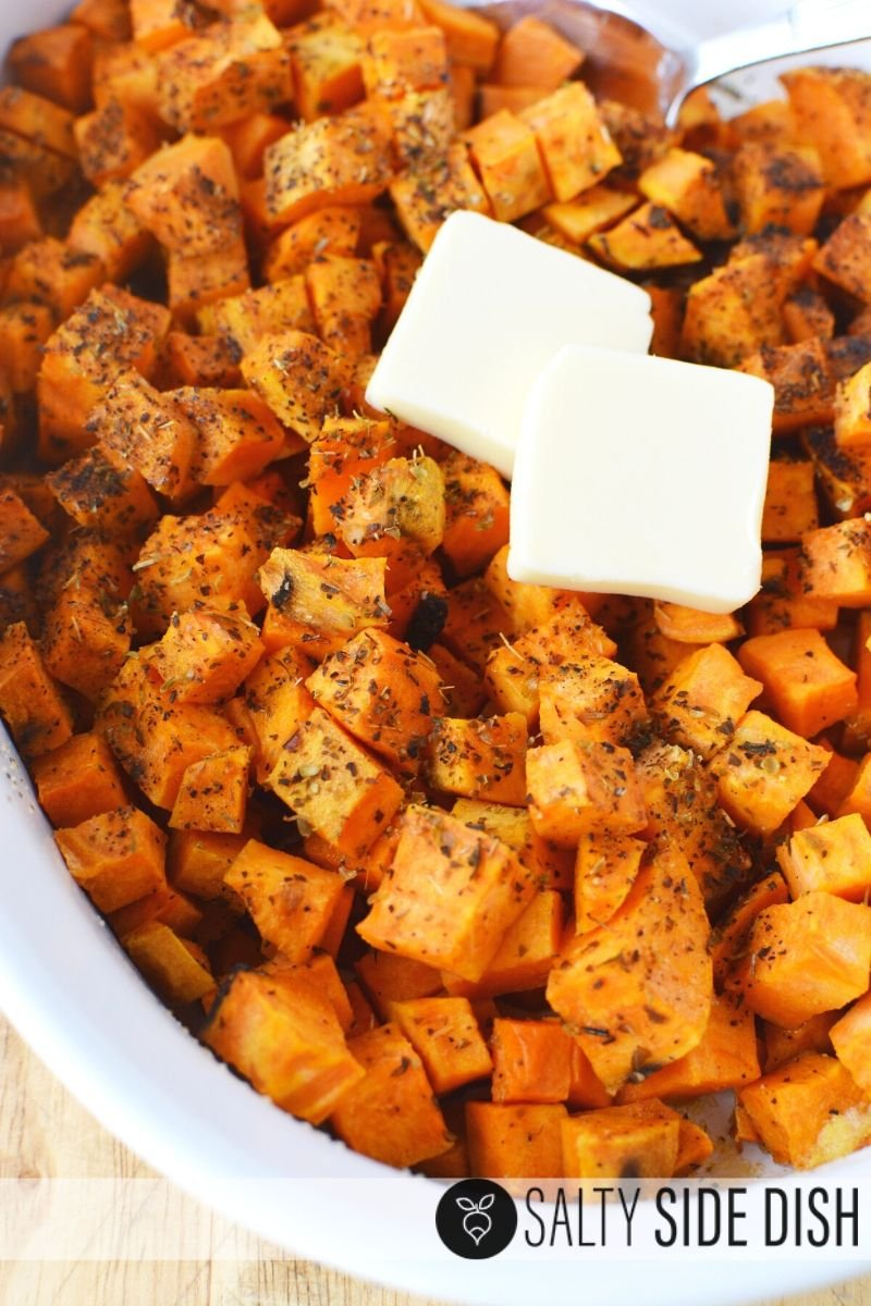 really easy oven baked sweet potatoes with oregano and butter