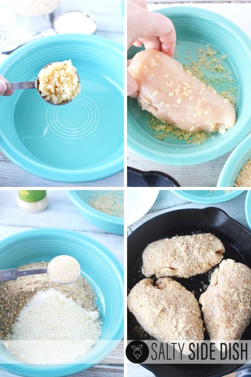 add garlic and oil to chicken before coating with bread crumbs