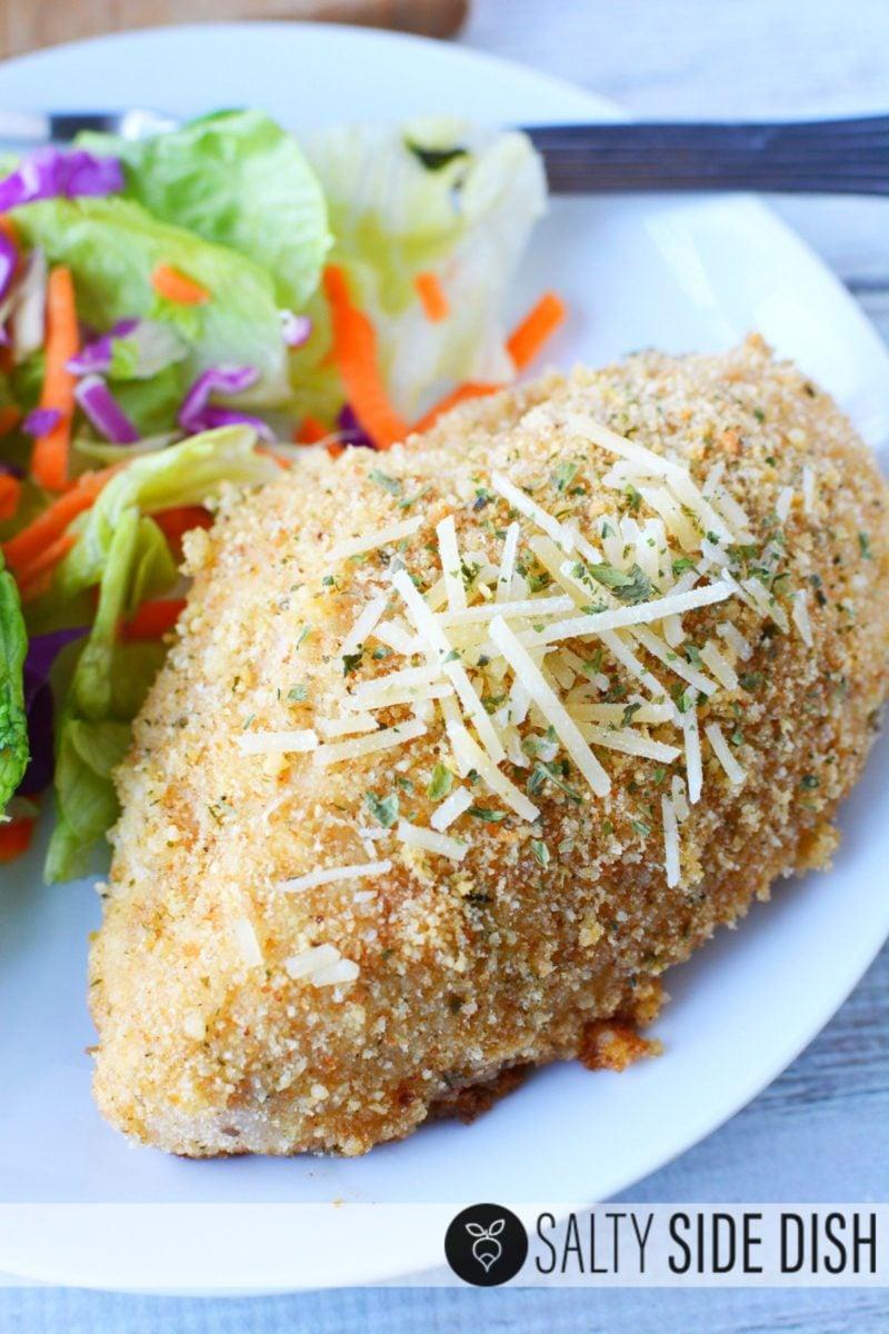 Easy garlic Parmesan chicken dinner recipe with side salad