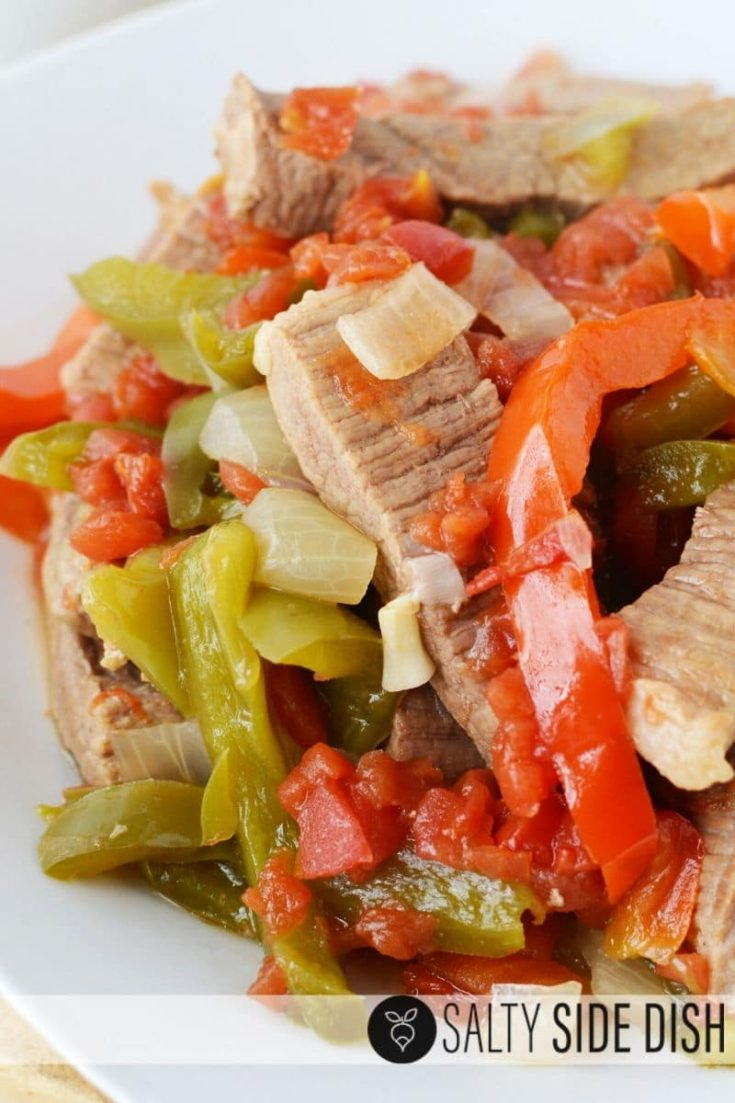 Slow Cooker Sirloin Pepper Steak with Beef Broth