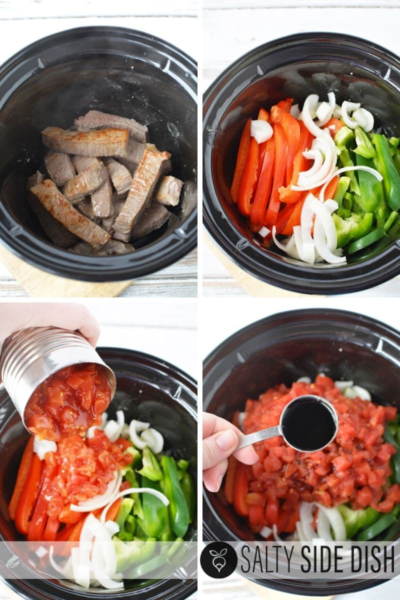 add beef, peppers, onions, and tomatoes to slow cooker recipe