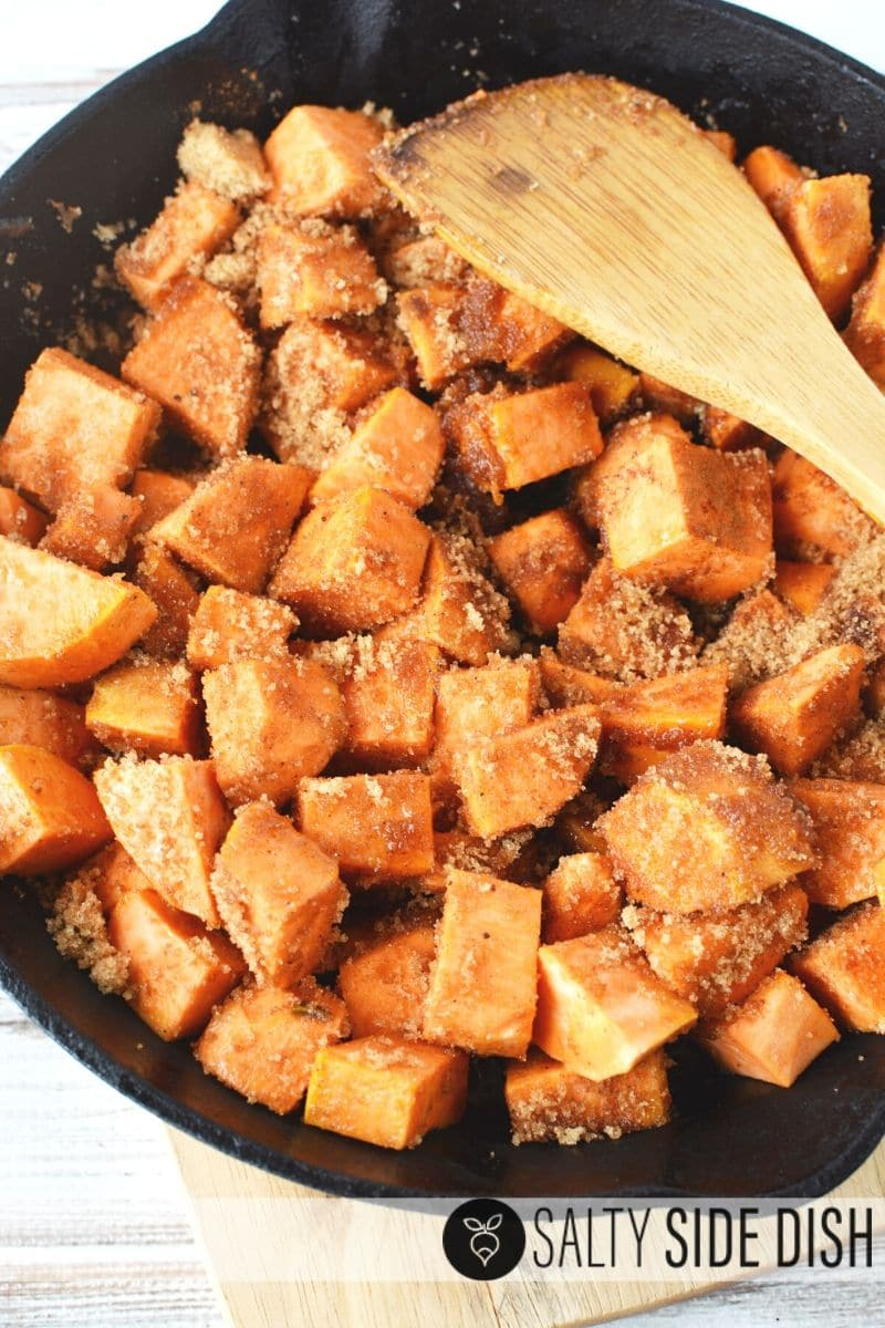 Super simple candied southern sweet potatoes on a side dish with brown sugar
