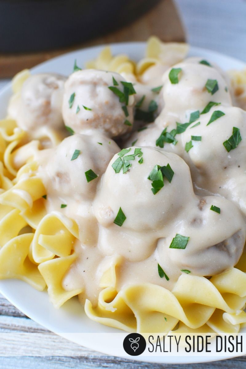 Frozen Swedish Meatballs recipe with rich sour ream sauce on egg noodles for dinner