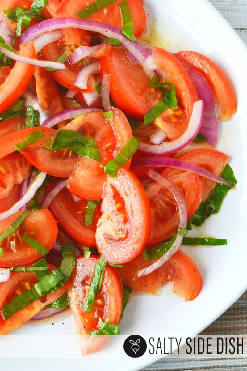 Homemade Marinated Tomato Salad with Slicer Tomatoes and red onions