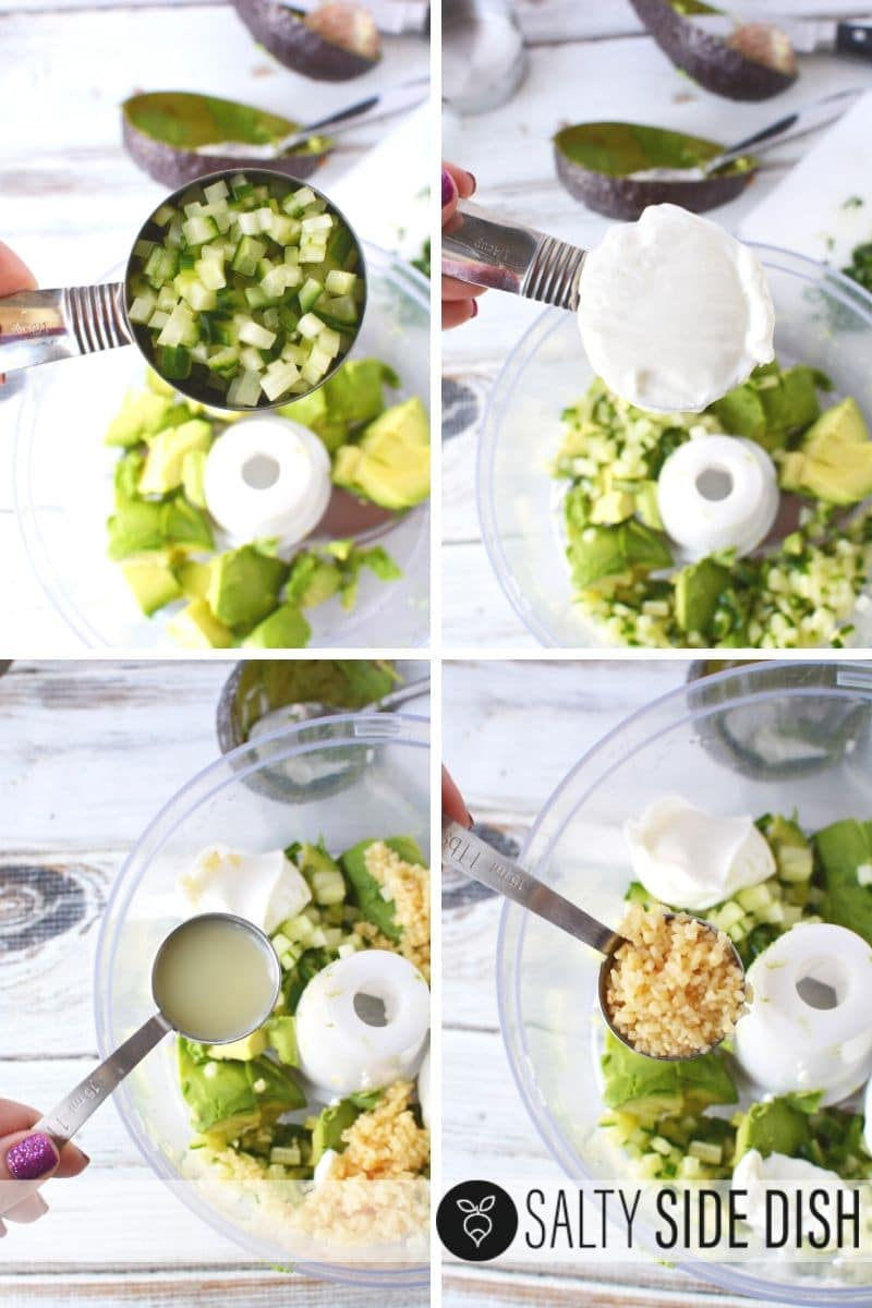 collage of all dip ingredients with cucumbers, sour cream, lime and garlic ready to go into a food processor