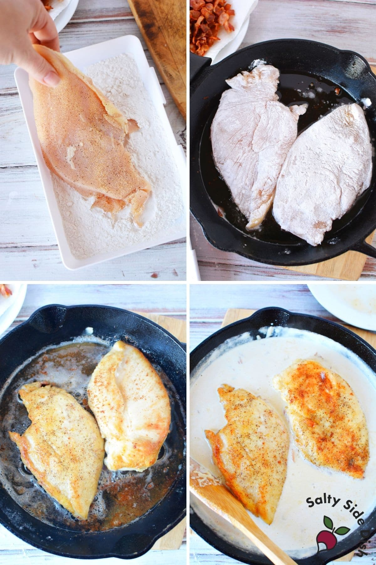 chicken breasts being dredged into flour and fried in a cast iron pan